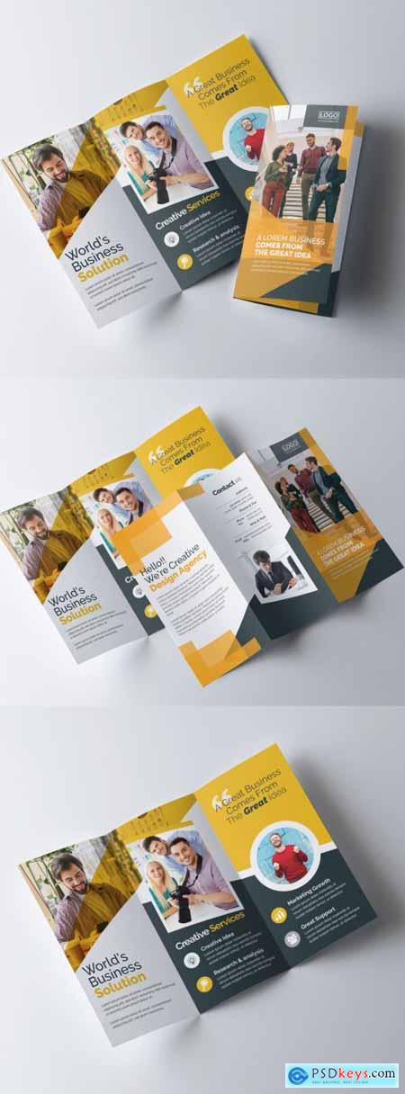 Trifold Brochure Layout with Orange Color Accents 320837618