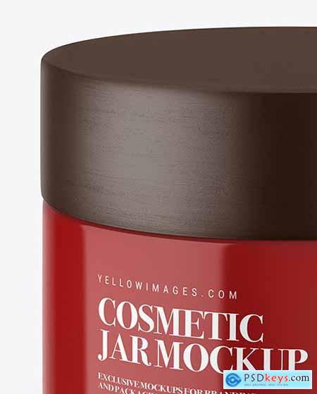 Glossy Cosmetic Jar with Wooden Cap 55229