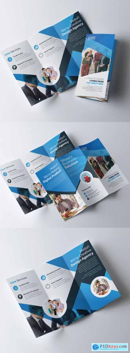 Corporate Trifold Brochure Layout with Blue Gradient Accents 320837655