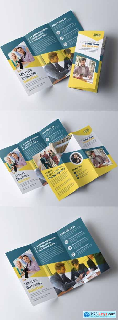 Creative Trifold Brochure Layout with Yellow Color Accents 320837723
