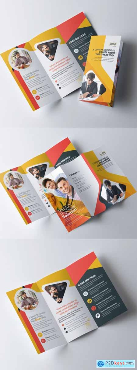 Corporate Trifold Brochure Layout with Orange Color Accents 320837744