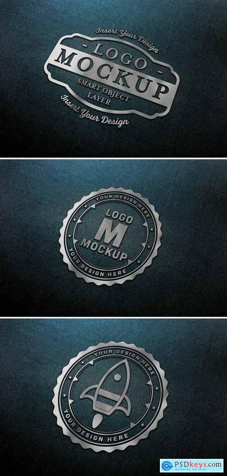 Chrome Logo Mockup on Dark Fabric Texture 320832168