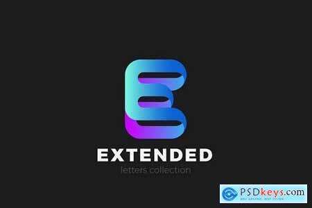 Letter E Logo design 3D Ribbon style