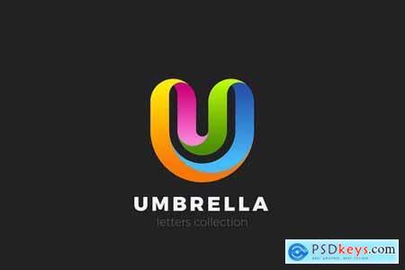 Letter U Logo design 3D Ribbon style