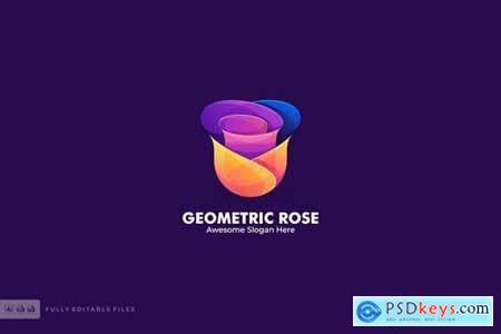 Geometric Rose Color Logo TemplateS