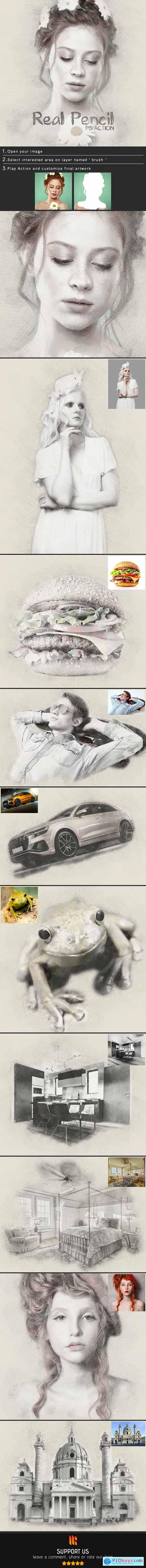 Real Pencil Photoshop Action 24968103