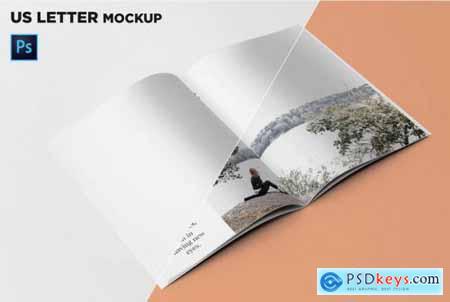 US Letter Brochure Mockup 45 Degree