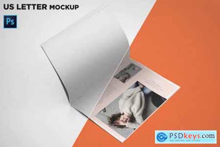 US Letter Brochure Mockup Open Page