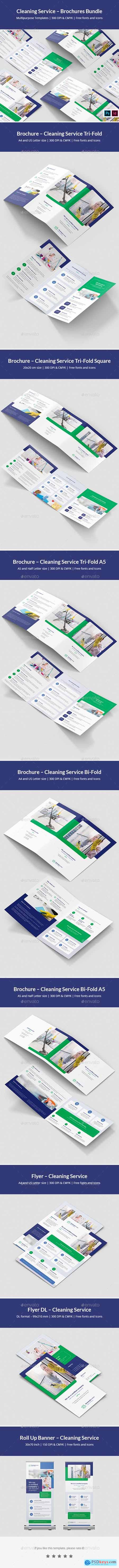 Cleaning Service – Brochures Bundle Print Templates 8 in 1 25675641