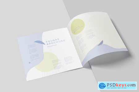 Two Fold Wide Square Brochure Mockups