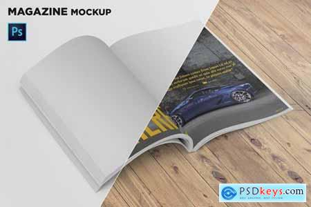 Magazine Mockup Folded Page Perspective View