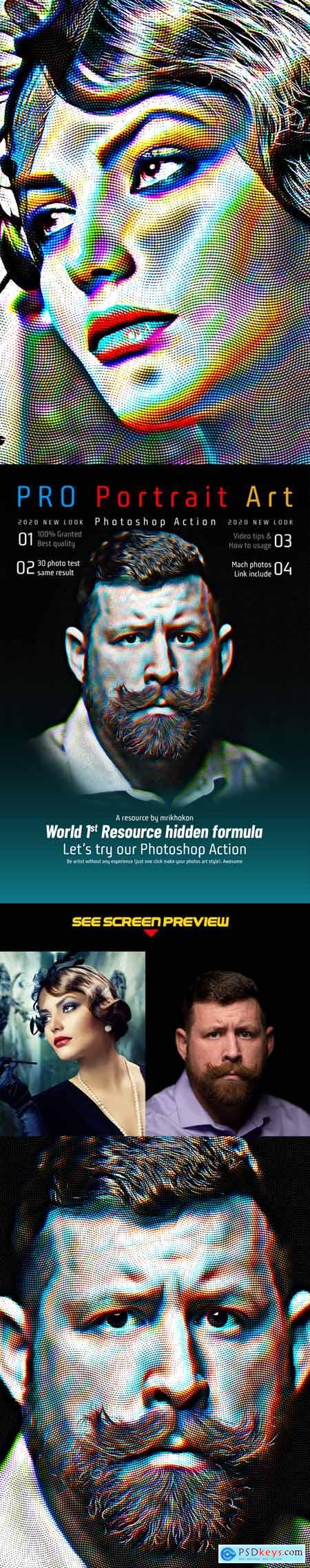 PRO Portrait Art Photoshop Action 25635762