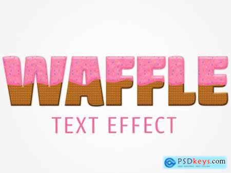 Waffle Text Effect Mockup with Pink Frosting and Color Chips Topping 322147612