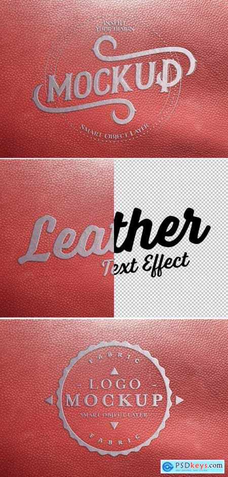 Metal-Embossed Red Leather Text Effect 322108674