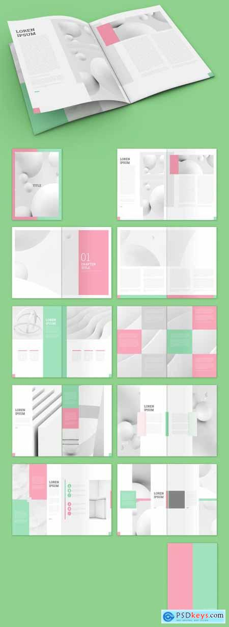 Magazine Layout with Pink and Mint Green Accents 322173324