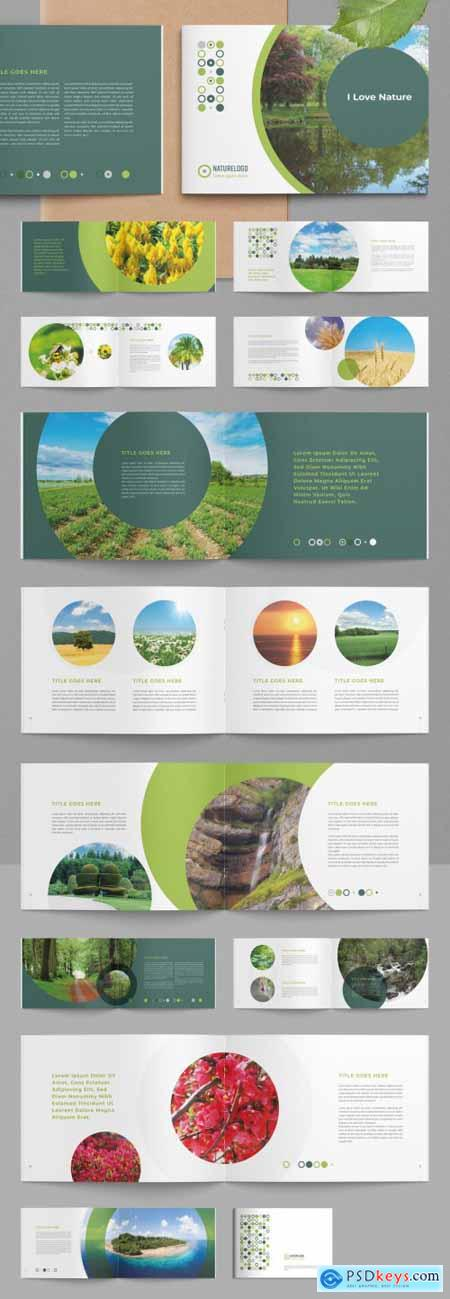 Nature Brochure Layout with Circle Image Masks 322186939