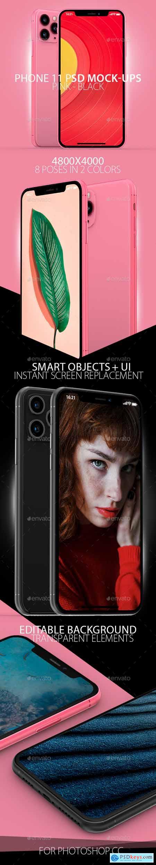Black & Pink Phone 11 PSD Mock-ups 25678224