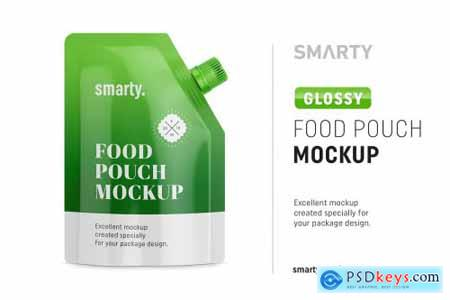 Glossy food pouch mockup 4388802