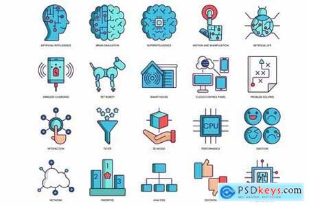 60 Artificial Intelligence Icons - Turquoise Serie