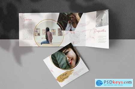 Gold Brush Square Trifold Brochure
