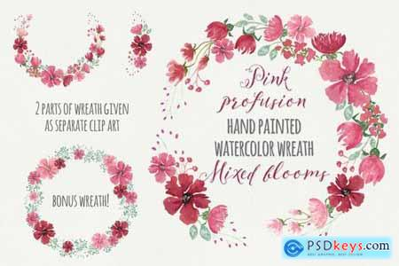 Pink Profusion Watercolor Wreath