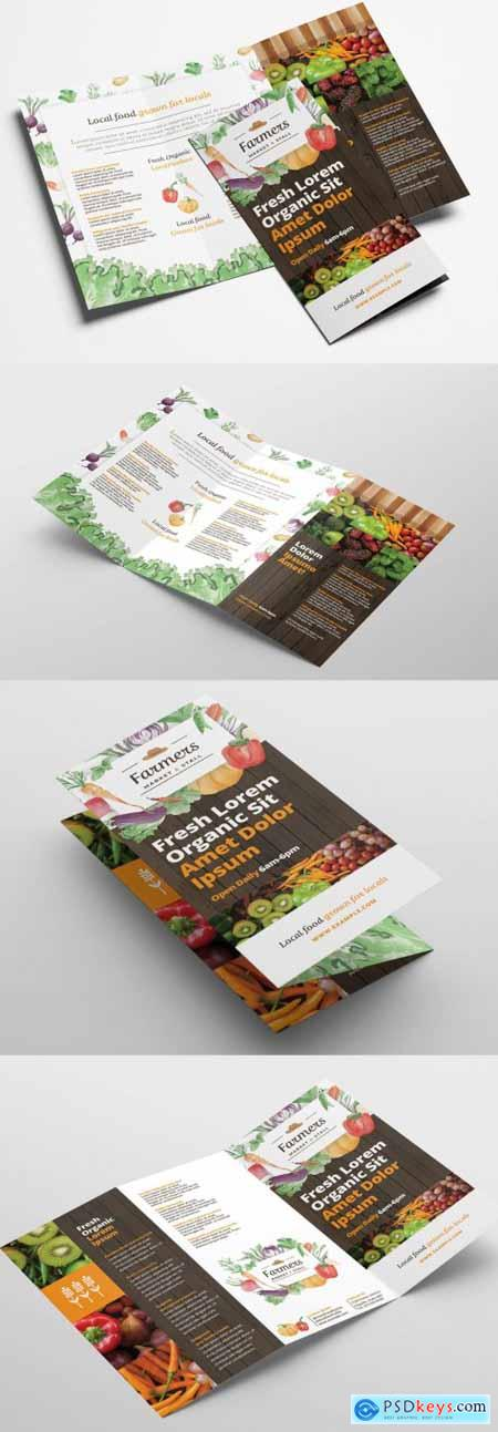 Trifold Brochure Layout with Organic Farmers Market Theme 322611265