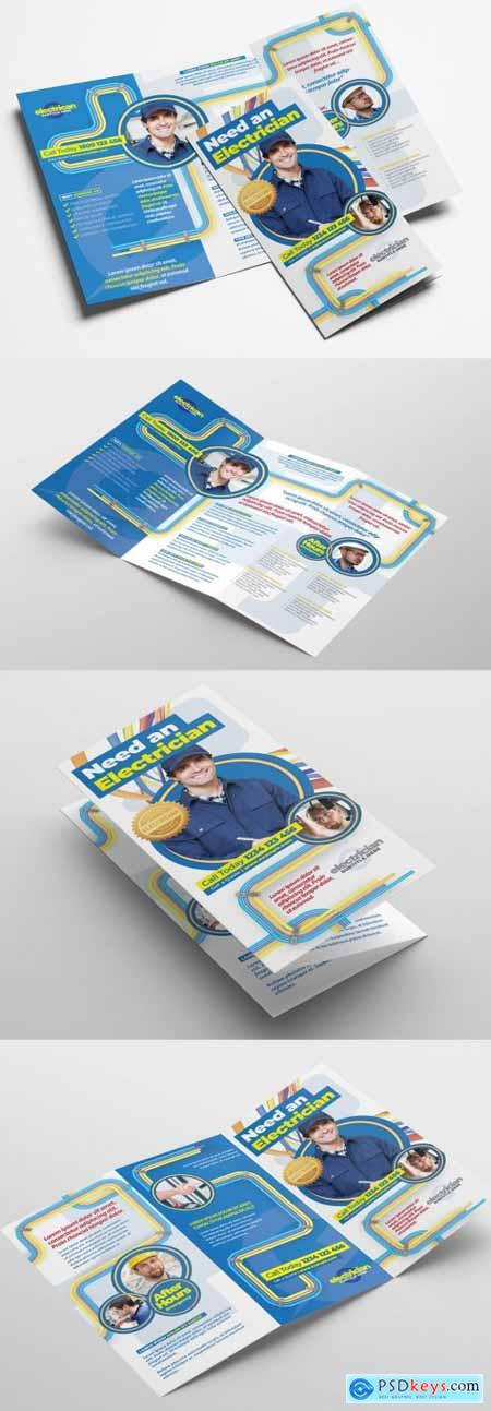 Electrician Trifold Brochure Layout with Electrical Elements 322611361