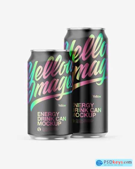 Two Metallic Cans W- Matte Finish Mockup 55262