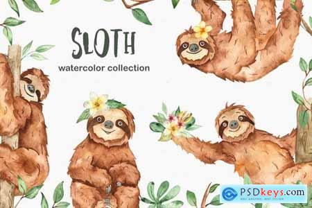 Watercolor cute sloth and tropical plants