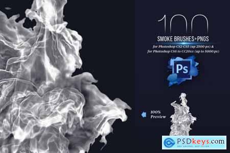 100 Photoshop Smoke Brushes + PNGs 4421254
