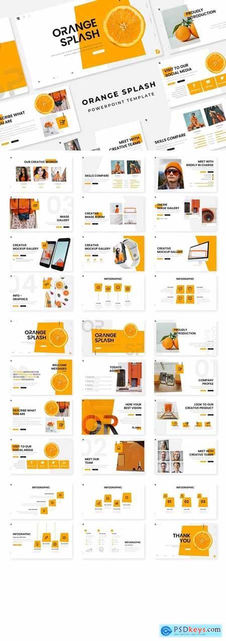 Orange Splash Powerpoint, Keynote and Google Slides Templates