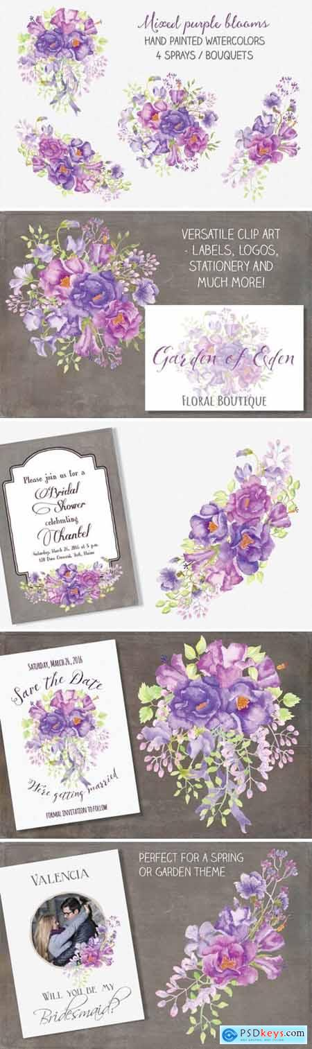 Floral Sprays of Mixed Purple Blooms