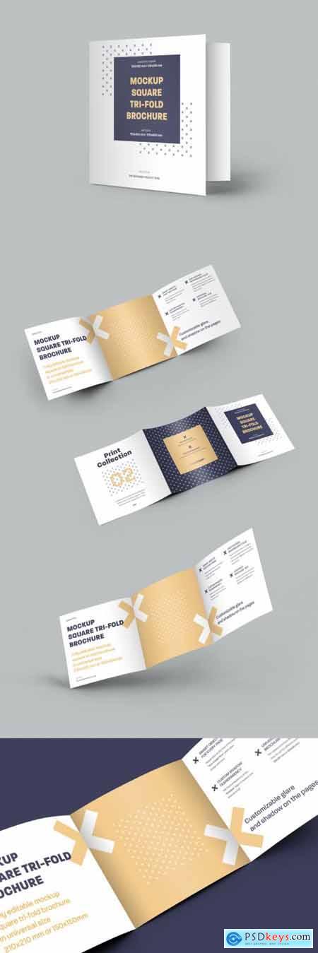 5 Square Trifold Brochure Mockups 322833912