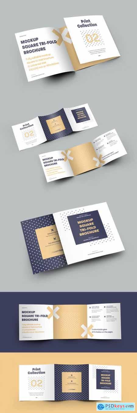 5 Mockup Set Square Tri-Fold Brochures 323040852