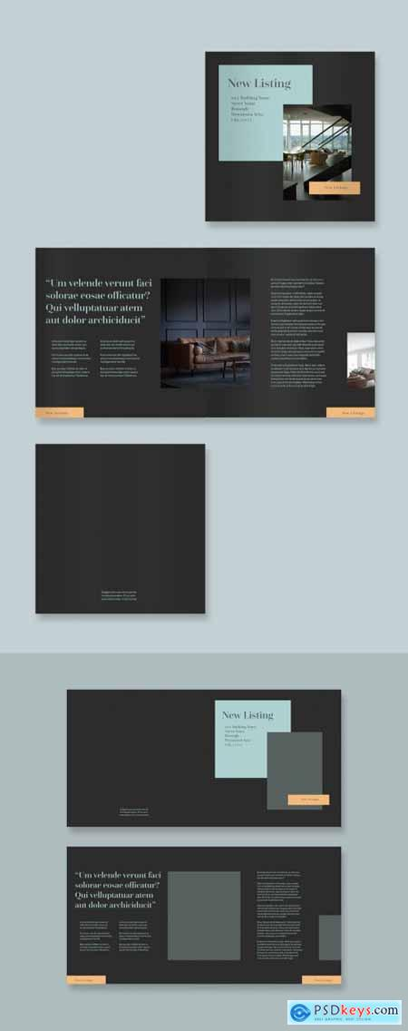 Dark Gray Brochure Layout with Orange and Teal Accents 323052239