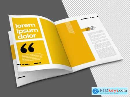 Open Brochure Mockup with Transparent Background 323043256