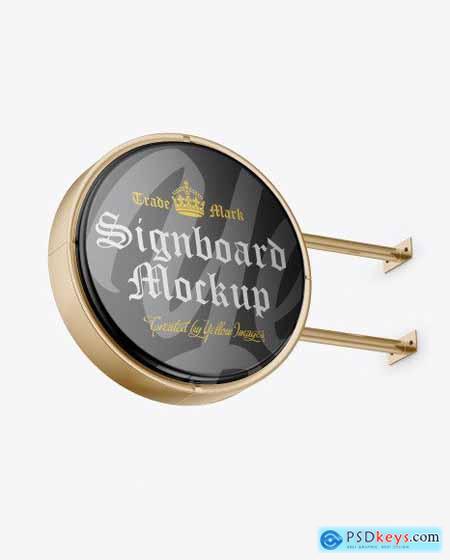Metallic Round Signboard Mockup 55840