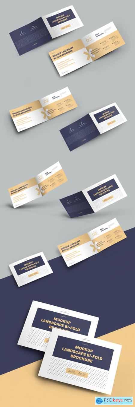 7 Mockup Set Landscape Bi-Fold Brochures 323040789