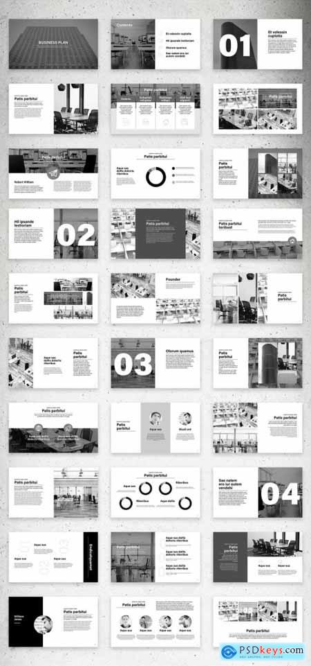 Minimalist Screen Business Plan Presentation Layout with Black Accents 323043722