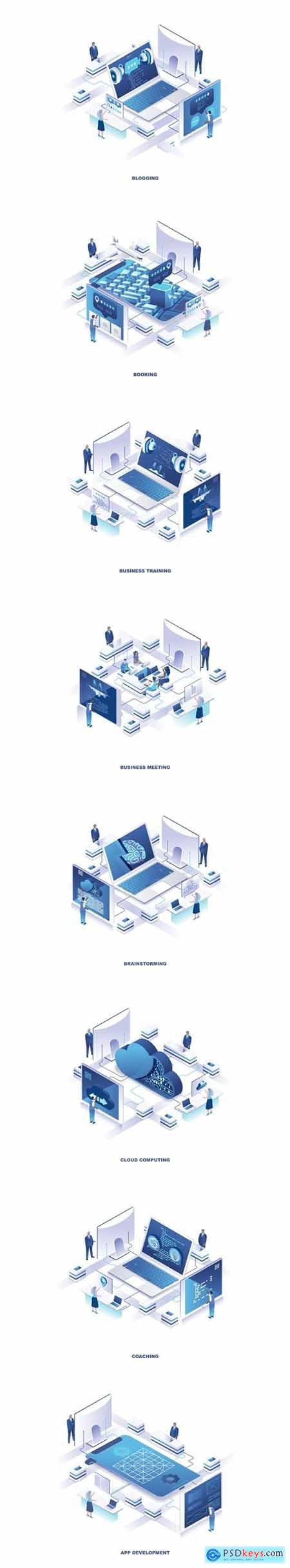 Business Training Isometric Banner Flat Concept