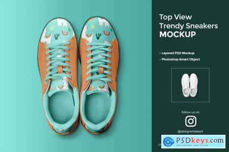 Top View Trendy Sneakers Mockup 4424441
