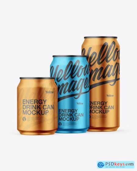 Three Matte Metallic Cans Mockup 55883