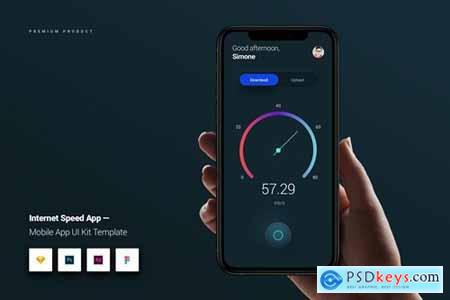 Internet Speed App iOS & Android UI Kit Template