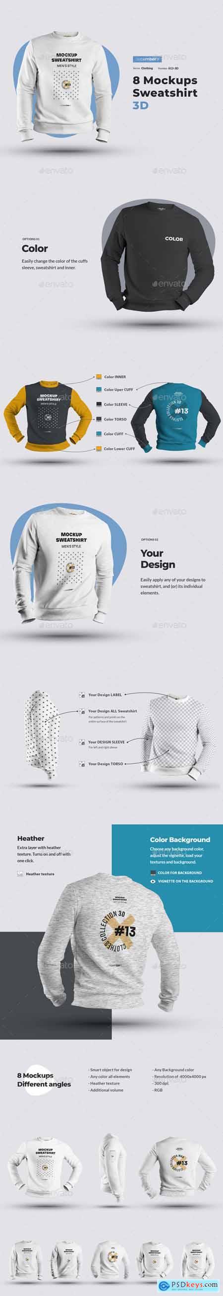 8 Mockups Mens 3D Sweatshirt 25758896
