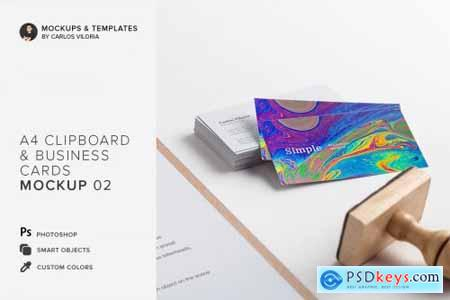 A4 Clipboard, Business Cards Mockup 4492944