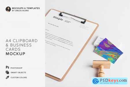 Clipboard and Business Cards Mockup 3812354
