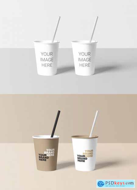 2 Paper Cups with Straws Mockup 319540191