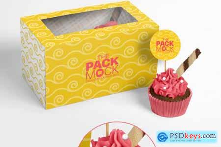 Cupcake Packaging Mockups - Box of Two Cupcakes