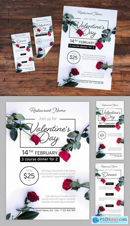 Valentines Day Dinner Event Layout Set with Photorealistic Rose Illustrations 319294255