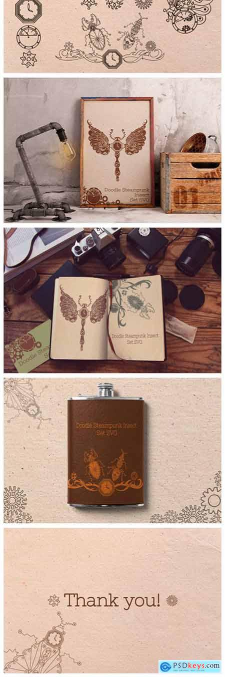 Doodle Steampunk Insect Set 2974494